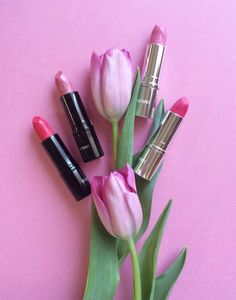 Tu-lips! Left to right: Creamy Lipcolor in Romance, and Sweet Dreams; Age Defying+ in Rose Sorbet and  Raspberry on Ice #beauty #prettyinpink #spring