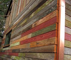 This is a beautiful outside view of a wall of: The Backyard House, a shed/cabin/shack built by sustainable building consultant Megan Lea in Portland, Oregon. Best Tiny House, Micro House, Backyard Cabin, Backyard Studio, Simple Greenhouse, Shed Cabin, Recycled House, Copper Roof, Reclaimed Barn Wood