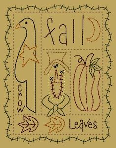 PK104 Fall Sampler Version 2 - 5x7: Primitive Keepers, Prim Machine Embroidery Designs