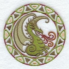 Celtic Dragon Embroidered Flour Sack by EmbroideryEverywhere