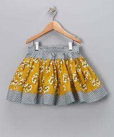 Gray & Gold Winter Blossom Twirly Skirt - Infant, Toddler & Girls