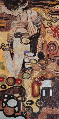 Gustav Klimt,the Kiss Famous reproduction Marble Mosaic Tile Stone Mural Art