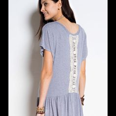 Cute Blue Top with Lace Detail Awesome lightweight oversized top! Lace panel down back and perfect with leggings or denim. All sizes available. Please request your size and I can make you a listing. Offers welcome  Tops