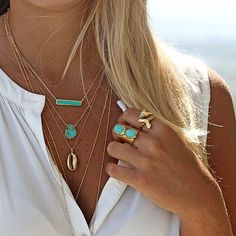 layered turquoise & gold by kei jewelry