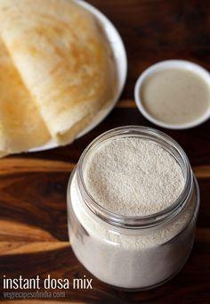 instant dosa mix recipe - homemade instant dosa mix made with idli rava, urad dal flour, besan and methi seeds.  #dosa #dosamix