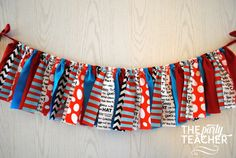 Seuss colors mixed with his book titles make decorating for your Dr. Seuss or Thing 1 and Thing 2 party easy. My garlands are very full and neatly hand-tied. And, they are reusable! Boys First Birthday Party Ideas, Dr Seuss Birthday Party, Mickey Birthday, 1st Boy Birthday, First Birthday Parties, Dr Seuss Baby Shower, Boy Shower, Dr Seuss Fabric, Cat In The Hat Party