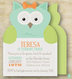 Custom Kid's Birthday Invitation Owl Party | Personalized Die Cut Party Invitation | Birthday Invite for an Owl Party