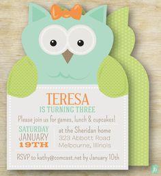 Custom Kid's Birthday Invitation Owl Party | Personalized Die Cut Party Invitation | Birthday Invite for an Owl Party