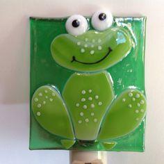 night lite Custom Fused Glass Smiling Frog Night Light by LaGlasSea on Etsy Pricing Garage Sale Item Fused Glass Ornaments, Fused Glass Art, Dough Ornaments, Glass Fusion Ideas, Glass Frog, Sea Glass, Glass Vase, Glass Fusing Projects, Glass Art Pictures