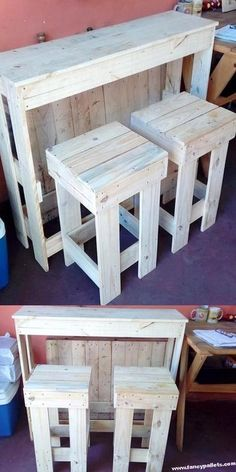 Pallets Old Outstanding Wooden Pallet Bar Ideas Wooden Pallet Bar, Wooden Pallet Projects, Wooden Pallet Furniture, Pallet Crafts, Pallet Ideas, Diy Furniture, Pallet Bar Stools, Outdoor Pallet Bar, Pallet Benches