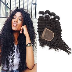 Echo Beauty Grade 7A 100 Unprocessed Peruvian Virgin Hair Deep Wave Hair Bundles With 4 x4 Hair Closure 16 18 20 2214 ** Click image to review more details.