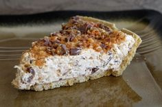 Butterfinger Pie, no bake & only 4 ingredients ~ delicious, cheap and easy, it takes only 5 minutes.  Ingredients needed:  1 Graham Cracker crust (regular or chocolate), 1 12oz tub coolwhip (any brand), 1 pkg of minature butterfingers( should be seven in pkg) or 4 regular size & 1 8oz block of cream cheese.