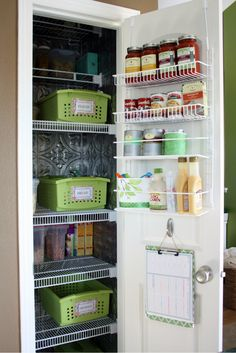 I really like the use of the labeled baskets. In my tiny apartment kitchen the shelving is very, very deep. Being able to pull out a labeled basket instead of products disappearing into the dark of the pantry shelves would be VERY helpful! (Not ot mention the over the door organizer...wonder if 1 of these would work on my cabinet doors? (not hinged doors)