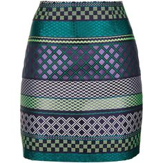 TOPSHOP Jacquard Tile Stripe Mini Skirt (110 BRL) ❤ liked on Polyvore featuring skirts, mini skirts, bottoms, saias, faldas, multi, striped mini skirt, short mini skirts, blue mini skirt and blue stripe skirt