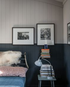 If you're hoping to use two colours in your room, consider choosing a darker shade for your woodwork. When skirting boards and wooden cladding are very dark, it often makes the larger wall spaces above feel lighter and airier. Plus darker trims give a wonderfully sophisticated and elegant look.