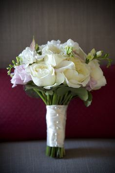 Beautiful white wedding bouquet, with wrapped stems!