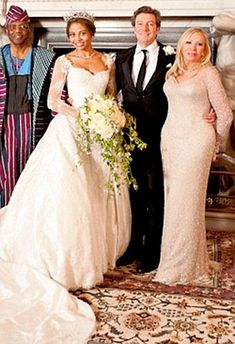 Outraged mother of the bride: Suzanna McQuiston and Emma's father at Longleat on Emma's wedding day Greek Wedding, Wedding Bride, Wedding Dresses, Celebrity Wedding Photos, Celebrity Weddings, Black Royalty, African Royalty, Casa Real, Interracial Couples