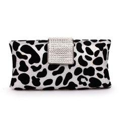 Leopard Evening Bags Diamond Clasp Clutches