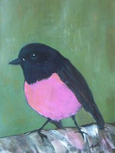 Pink Robin   Original acrylic painting  little bird by VESNAsART