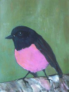 Pink Robin   Original acrylic painting  little bird by VESNAsART