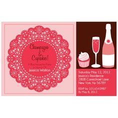 Champagne and cupcakes invite