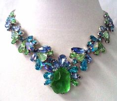 *OMG* *RARE* STUNNING VINTAGE SIGNED WEISS AB RHINESTONE NECKLACE MINTY!!! G4524