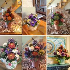 Collage of pine cone floral arrangements by Cathy Nyman