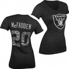 Oakland Raiders NFL Darren McFadden  20 Women s Triblend Name and Number  Ringer V-Neck d7653f961