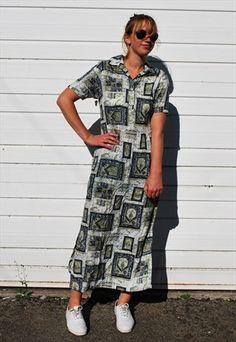 3a958ce210 Vintage 90s Square Print Midi Dress Evening Gowns, Vintage Dresses, Vintage  Ladies, Short