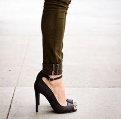 Black Heels, Olive Skinny Jeans