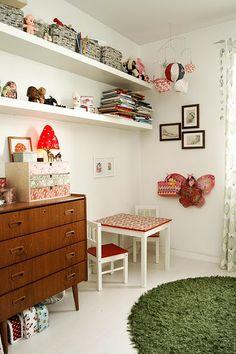 Love everything about this - mid century dresser, mushroom lamp, shelves. Girl Room, Girls Bedroom, Bedroom Decor, Child's Room, Sweet Home, Kids Decor, Home Decor, Kid Spaces, Retro