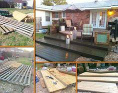 DIY Pallet Deck : Home Exterior Improvements Recycled Pallets, Wooden Pallets, Wooden Boards, Recycled Garden, Cool Art Projects, Outdoor Projects, Pallet Projects, Diy Projects, Wooden Decks