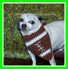 Posh Pooch Designs Dog Clothes: Football Dog Bandanna - Free Crochet Pattern | Posh Pooch Designs
