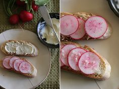 French radishes with butter and salt
