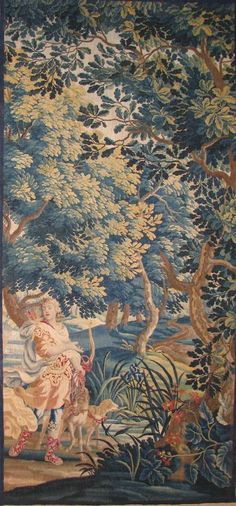 "Late 17th century Flemish verdure tapestry: ""The Hunter and His Dogs"""