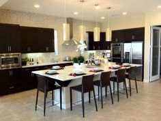 Like the island as a divider to the living area. Don't like the color scheme. Decor, Furniture, Living Area, Room, Modern Kitchen, House Styles, New Homes, Home Decor, Kitchen