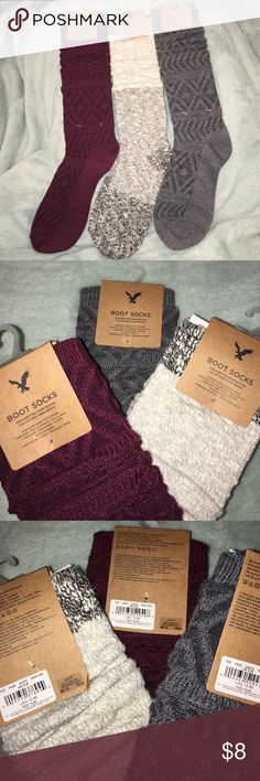 American Eagle boot sock bundle! WILL SEPARATE IF ASKED TO IN COMMENTS. Three pair of AEO boot socks. $12.95 each originally American Eagle Outfitters Other