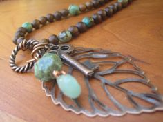 Long Stone Necklace  Turquoise  Brown  Charm  by inbloomdesigns, $45.00