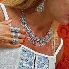 Indian necklace silver colar indiano de prata