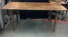 """Wood table with legs that unscrew.  Table is from an Arizona mining town. Table measures 72""""w x 34""""d x 30""""t     SOLD !!"""