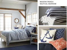 Modern French Nautical Bedroom - this is a beach theme I can appreciate