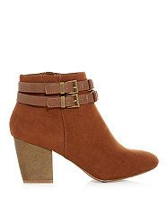 Tan (Stone ) Tan Link Trim Double Strap Shoe Boots | 302340318 | New Look
