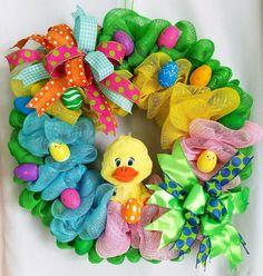 Easter Duck Mesh WreathEaster Front Door Wreath Easter