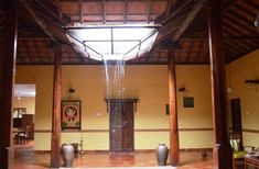 Traditional Malnad Home with Central Courtyard Indian Home Design, Indian Interior Design, Kerala House Design, Modern Interior, Courtyard House Plans, Courtyard Design, Village House Design, Village Houses, Chettinad House