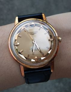 Vintage Watches Collection : Brilliant Vintage Longines Conquest Automatic In Solid Rose Gold Circa Army Watches, Cool Watches, Rolex Watches, Wrist Watches, Swiss Luxury Watches, Luxury Watches For Men, Longines Watch Men, Mens Designer Watches, Beautiful Watches