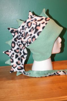 REDUCED 25% Leopard/Moss Green Fleece Animal by thelopsidedfrog, $15.00