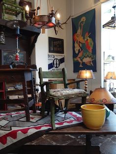Early California Antiques  Eric Berg  Store Photos, lots of tiles tables here