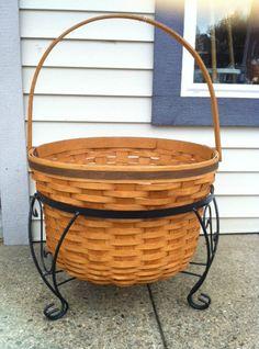 Longaberger Street Basket w Wrought Iron Stand Huge Basket