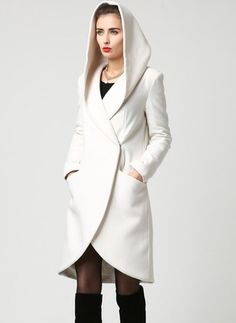 wrap coat white coat hooded coat winter coat wool coat short coat womens coats casual coat mod clothing custom made by xiaolizi Fashion Trends 2018, Beige Coat, Wrap Coat, Coat Dress, Winter White, Vest Jacket, Coats For Women, Winter Outfits, How To Wear