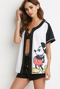 Mickey Graphic Baseball Jersey - NEW ARRIVALS - 2000155077 - Forever 21 UK